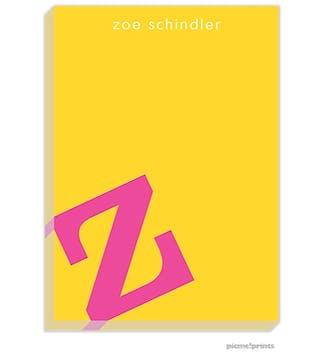 Alphabet Hot Pink on Sunshine Large Notepad