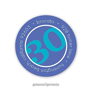 Big Birthday Peacock on Cobalt Round Address Label