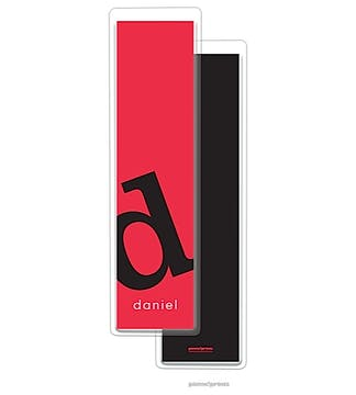 Alphabet Tall Bookmark - Black on Cherry