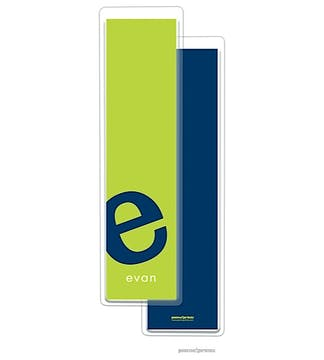 Alphabet Tall Bookmark - Navy on Chartreuse