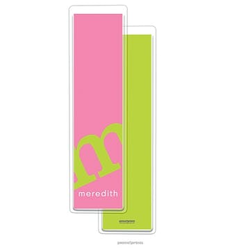 Alphabet Tall Bookmark - Chartreuse on Bubblegum