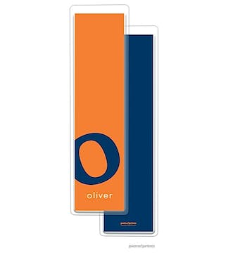 Alphabet Tall Bookmark - Navy on Tangerine