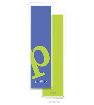 Alphabet Tall Bookmark - Chartreuse on Cobalt