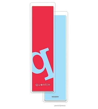 Alphabet Tall Bookmark - Sky on Cherry