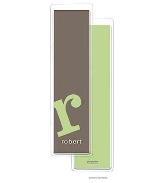Alphabet Tall Bookmark - Spring Green on Shale
