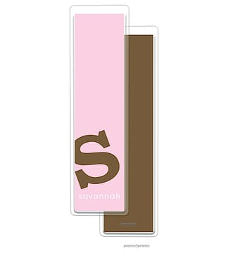 Alphabet Tall Bookmark - Chocolate on Pink
