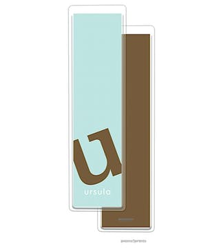 Alphabet Tall Bookmark - Chocolate on Robins Egg