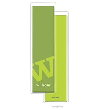 Alphabet Tall Bookmark - Chartreuse on Cilantro