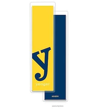 Alphabet Tall Bookmark - Navy on Sunshine