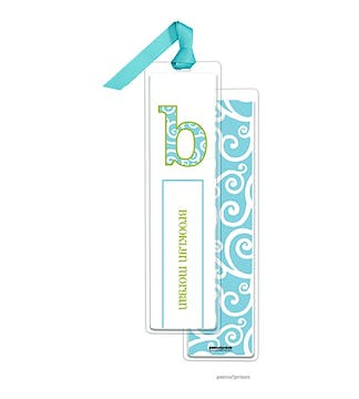Swirls Pool Tall Bookmark with Turquoise Ribbon