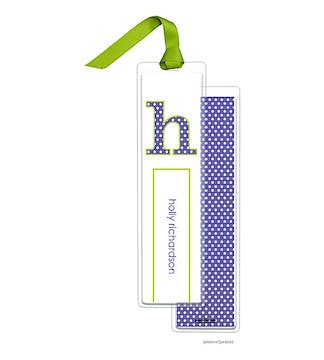 Big Dots Light Purple Tall Bookmark with Chartreuse Ribbon
