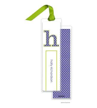 Big Dots Light Purple Tall Bookmark with Chartreuse Ribbon