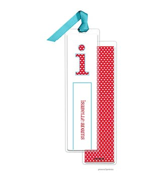 Big Dots Cherry Tall Bookmark with Turquoise Ribbon