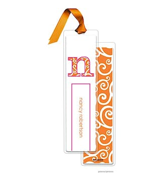 Swirls Tangerine Tall Bookmark with Tangerine Ribbon