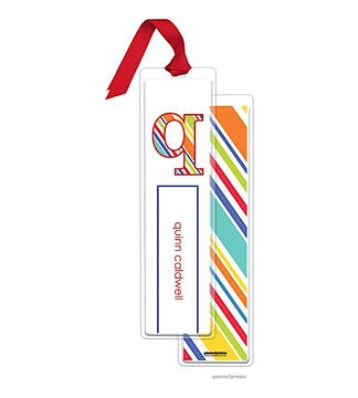 Stripes Multi Tall Bookmark with Red Ribbon