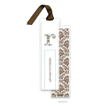 Damask Chocolate and Robins Egg Tall Bookmark with Chocolate Ribbon