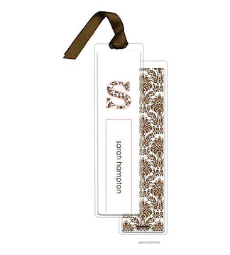 Damask Chocolate and Ballet Tall Bookmark with Chocolate Ribbon