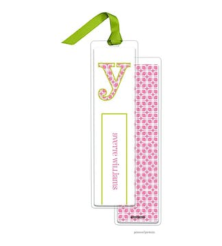 Squares Bubblegum Tall Bookmark with Chartreuse Ribbon