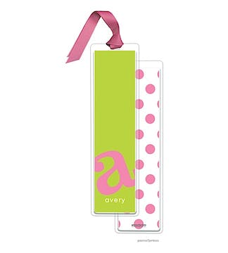 Alphabet Tall Bookmark - Bubblegum on Chartreuse with Bubblegum Ribbon