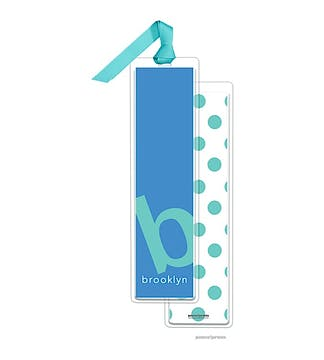 Alphabet Tall Bookmark - Turquoise on Ocean with Turquoise Ribbon