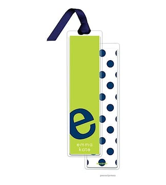 Alphabet Tall Bookmark - Navy on Chartreuse with Navy Ribbon