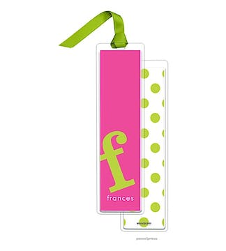 Alphabet Tall Bookmark - Chartreuse on Hot Pink with Chartreuse Ribbon