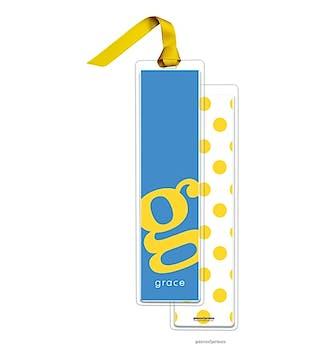 Alphabet Tall Bookmark - Sunshine on Ocean with Sunshine Ribbon