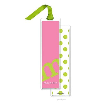 Alphabet Tall Bookmark - Chartreuse on Bubblegum with Chartreuse Ribbon