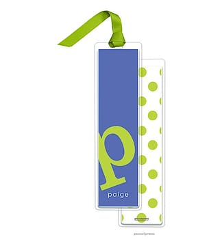 Alphabet Tall Bookmark - Chartreuse on Cobalt with Chartreuse Ribbon