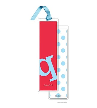 Alphabet Tall Bookmark - Sky on Cherry with Sky Ribbon