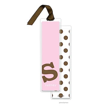Alphabet Tall Bookmark - Chocolate on Hot Pink with Chocolate Ribbon