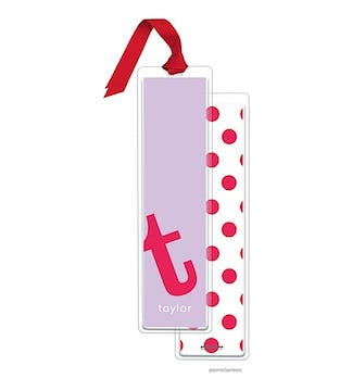 Alphabet Tall Bookmark - Watermelon on Grape with Red Ribbon