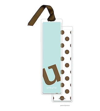 Alphabet Tall Bookmark - Chocolate on Robins Egg with Chocolate Ribbon