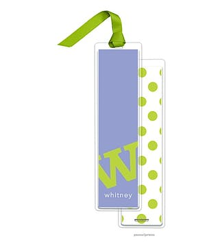 Alphabet Tall Bookmark - Chartreuse on Periwinkle with Chartreuse Ribbon