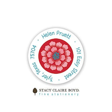 Scarlett Dahlias Round Address Sticky