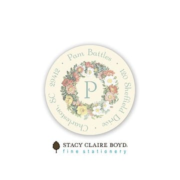Floral Wreath Round Address Sticky