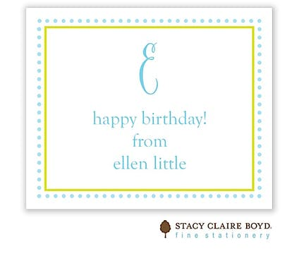 Aqua Dotted Border Calling Card