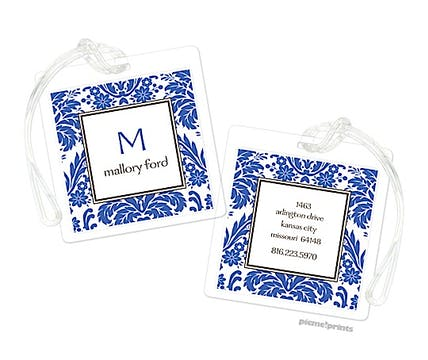Damask Cobalt Luggage Tag