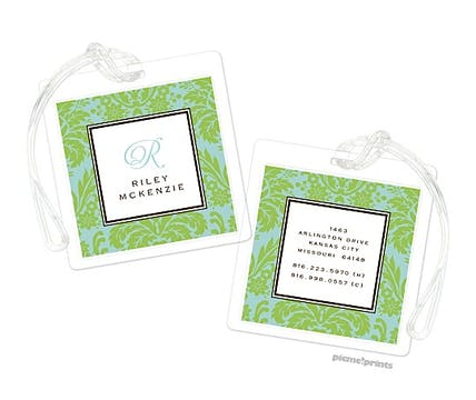 Damask Lime on Robin's Egg Luggage Tag