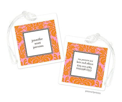Damask Tangerine on Bubblegum Luggage Tag