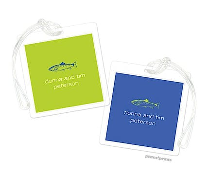 Solid Chartreuse/Cobalt Luggage Tag