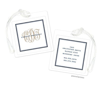 Tailored Monogram Navy ID Tag