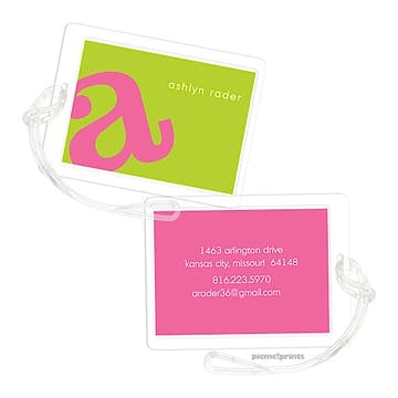 Alphabet Bubblegum on Chartreuse Luggage Tag