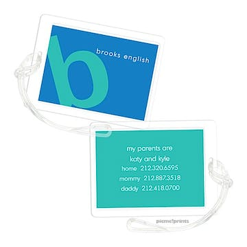 Alphabet Turquoise on Ocean Luggage Tag