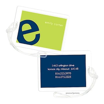 Alphabet Navy on Chartreuse Luggage Tag