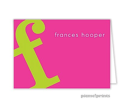 Alphabet Chartreuse on Hot Pink Folded Enclosure