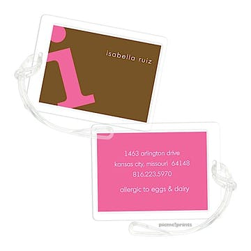 Alphabet Bubblegum on Chocolate Luggage Tag