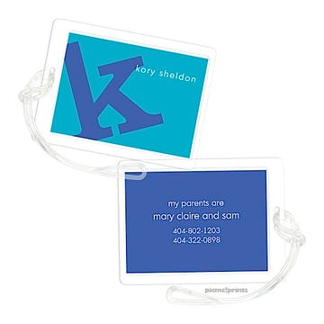 Alphabet Cobalt on Peacock Luggage Tag