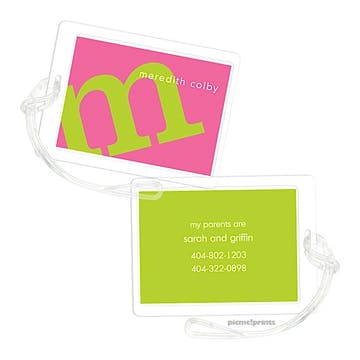 Alphabet Chartreuse on Bubblegum Luggage Tag
