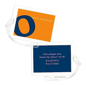 Alphabet Navy on Tangerine Luggage Tag